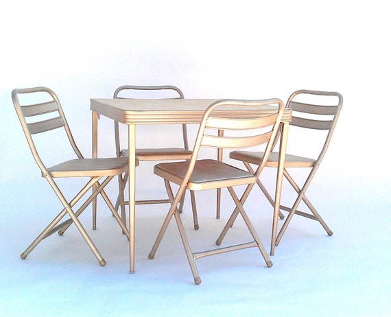Vintage Folding Card Table And Chairs By Durham Manufacturing