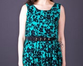 SALE 50% OFF 90s Vintage Cherry Blossom Floral Print Dress in Teal & Black