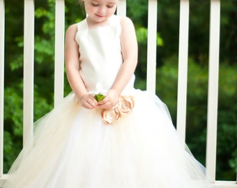Flower Girl Tutu Dress Floor Length Sewn Tutu Dress in Sand and Ivory with Satin Corset and Satin Flower Hair Clip 6 months-5T CUSTOMIZABLE
