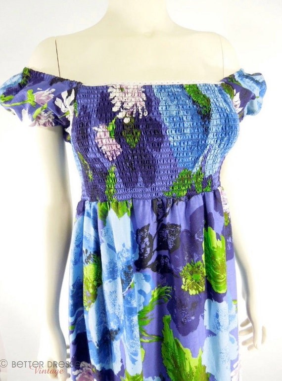 ON LAYAWAY - 70s Maxi Dress in Blue and Purple Floral - small