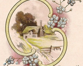 Ca.1910 Valentine Greeting Postcard w/ Cottage Scene - 862