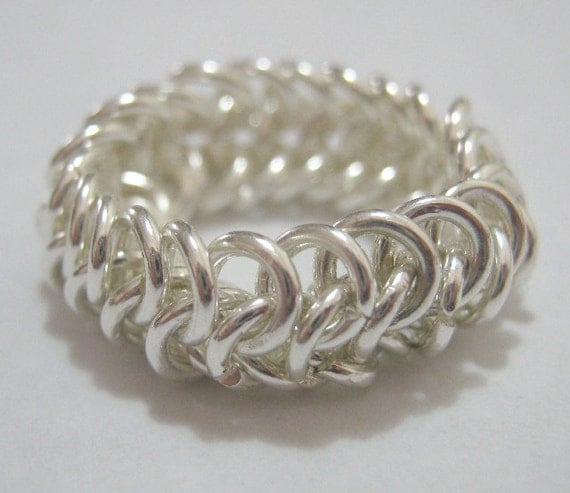 Ring A Ding Sterling Silver Plated Chain Maille Ring