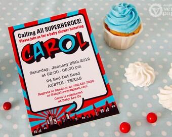 DIY PRINTABLE Invitation Card - Red Superhero Baby Shower Invitation - BS825CA1a1