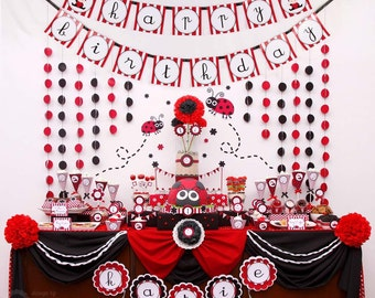 Red Sweet Lady Bug Birthday Party Package Personalized FULL Collection Set  - PRINTABLE DIY - PS815CB1x