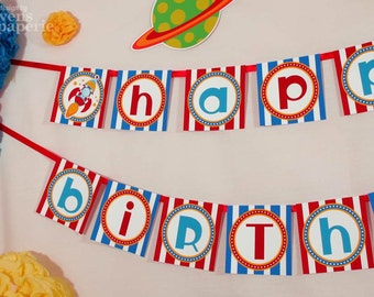 Rocket Space Birthday Party - DIY PRINTABLE Happy Birthday Banner - Instant Download - design by venspaperie - PS828CA1e
