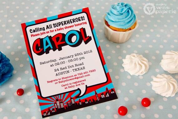 diy printable invitation card - red superhero baby shower, Baby shower invitations