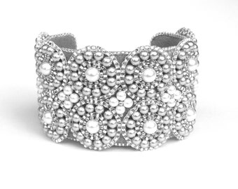 Beaded Bracelet Cuff, Swarovski Grey & White Pearls, Bridal, Wedding Bracelet, Statement Cuff