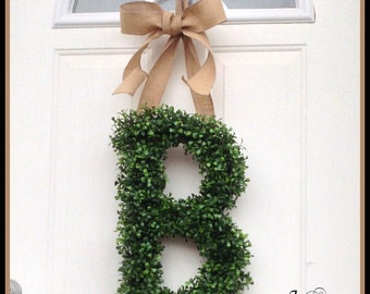 Personalized Gift,. Monogram Door Wreath - Wreaths - Boxwood Wreath - All Year Wreath - Door Wreath Letters A-Z Pick Ribbon Color