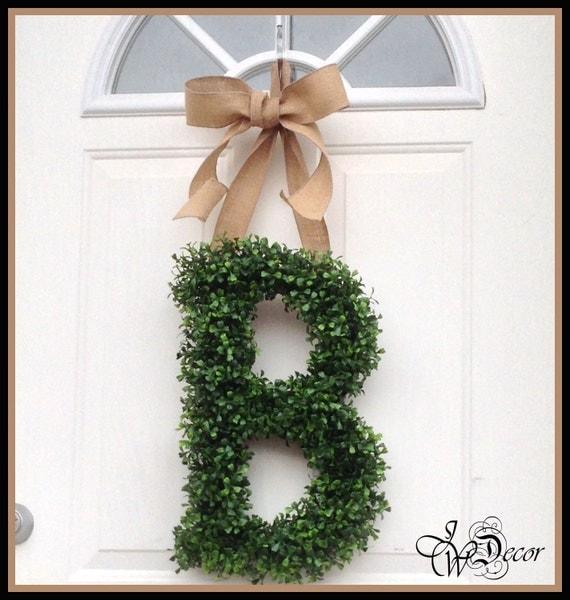 Personalized Gift Monogram Door Wreath Wreaths Boxwood