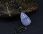 blue lace agate gemstone teardrop pendant