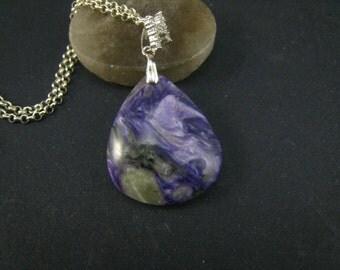 soul stone,charoite teardrop pendant