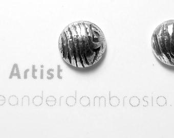 Etched Stud Earrings - Textured Post Earrings - Tiny Stud Earrings - Zebra Pattern Earrings - Animal Print Studs - Oxidized Stud Earrings