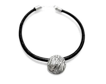 Sterling Leather Bracelet - Textured Silver - Silver Charm Bracelet - Handmade Charm - Contemporary Charm Bracelet - Etched Silver - Simple