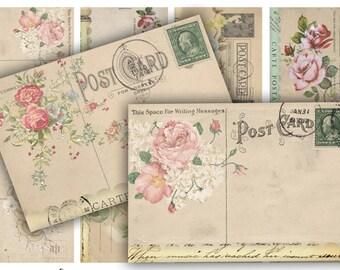 Digital Collage Sheet Download - Vintage Rose Postcards -  269  - Digital Paper - Instant Download Printables