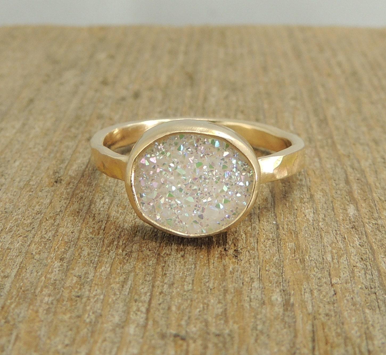 rough druzy 14k gold ring raw uncut white druzy ring With druzy wedding ring