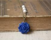 Polymer Clay Dark Blue Rose Pendant Necklace. White Swarovski Pearls Beaded Chain. Antique Brass. Blue Jewelry. Flower Jewelry