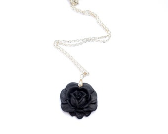 Black Rose Necklace. Polymer Clay Flower Pendant. Black Jewelry. Flower Jewelry. Trendy Jewelry