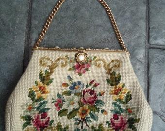 Vintage Christine Custom Bags Detroit, Michigan Floral Needlepoint Handbag