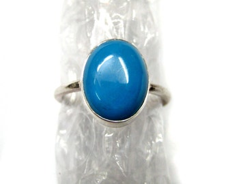 Natural Blue Turquoise 925 Sterling Silver Ring , Oval Shape Smooth Cabochon Gem stone , hand made stackable rings