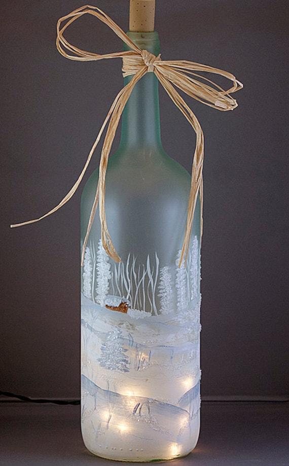 Hand painted lighted wine bottle winter snow scene hostess for Hand painted bottles