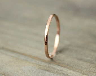 "Rose Gold Band Solid Gold 14 k Band Thin Gold Band Wedding Bridal Anniversary Stacking Hammered--""Tender"""