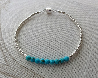 Turquoise Beaded Bracelet - Faceted Turquoise Friendship Bracelet