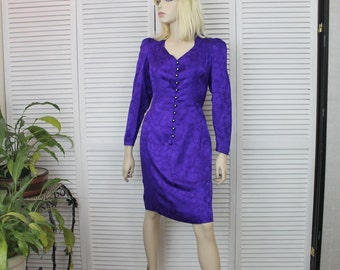 Vintage Purple Silk Dress SIZE 8P