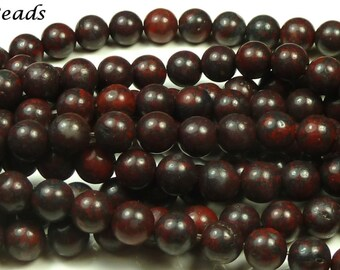 10mm Brecciated Jasper Natural Gemstone Beads - 15.5 Inch Strand - Round, Dark Brown, Brick Red, Black, Mottled Pattern - BC36