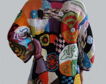 ORIGINAL crochet freeform coat - patchwork hippie vest jacket hippie dress boho chic vintage high fashion bohemian gypsy - MADE to ORDER