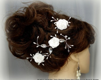 Bridal Hair Comb x3, Satin Ribbon Flower, Set of 3