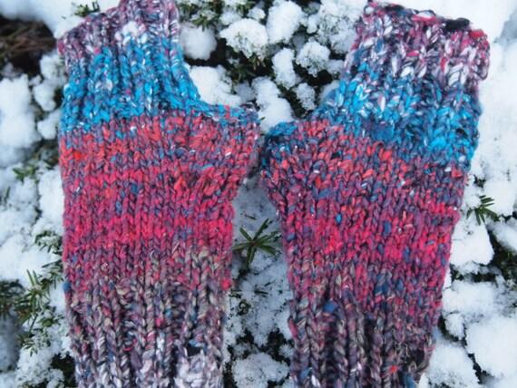 Hand Knit Fingerless Mitts Noro Kogarashi Silk/Wool