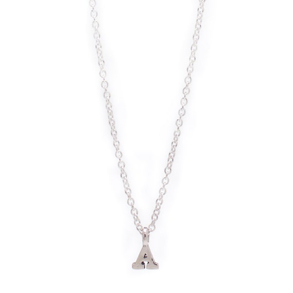 Sterling Silver Personalized Initial Necklace - Delicate Sterling Silver Chain - Small Sterling Silver Initial Charm - 17in. Necklace