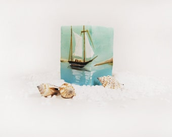 Handpainted Nautical Candle Cube -  Lonely Sailboat, Ocean And Dunes - Marine Decor - Nautical Home Decor - Marine Wedding Favor - Gift Idea
