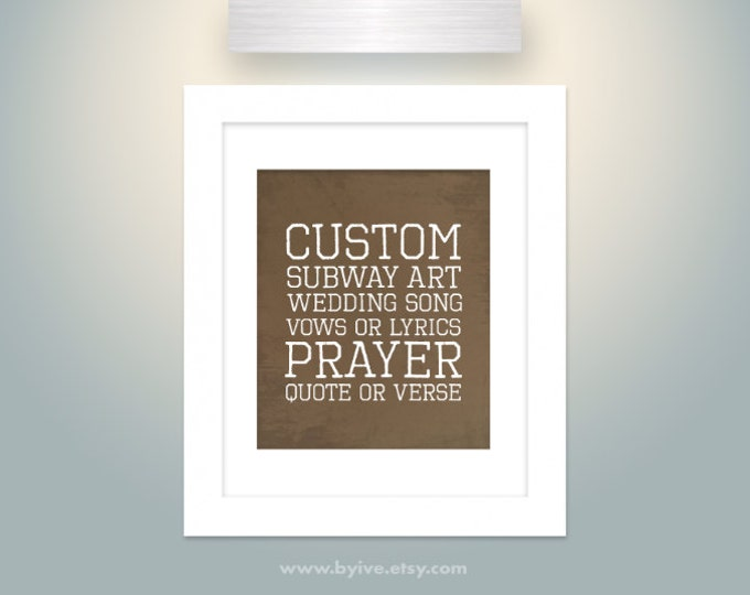 Customize subway art, bible verse, prayer, quote, cities, favorite song, poem, wedding vows. English or Spanish. Unframed.