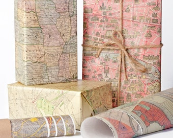 Historic Maps Wrapping Paper / 12 Sheets