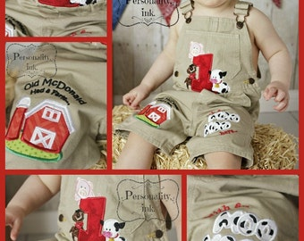 1st birthday Farm theme shortalls - Boys birthday overalls - Personalized Old McDonald Birthday - Farm birthday outfit
