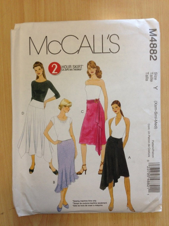 McCalls Sewing Pattern 4882 Misses Skirt Size XS, S, M Sale