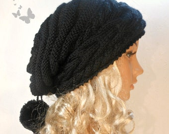 Slouchy Beanie Slouch Hat Oversized Baggy Cabled Hat Neck Warmer womens Fall Winter Accessory Black Hand Made Knit