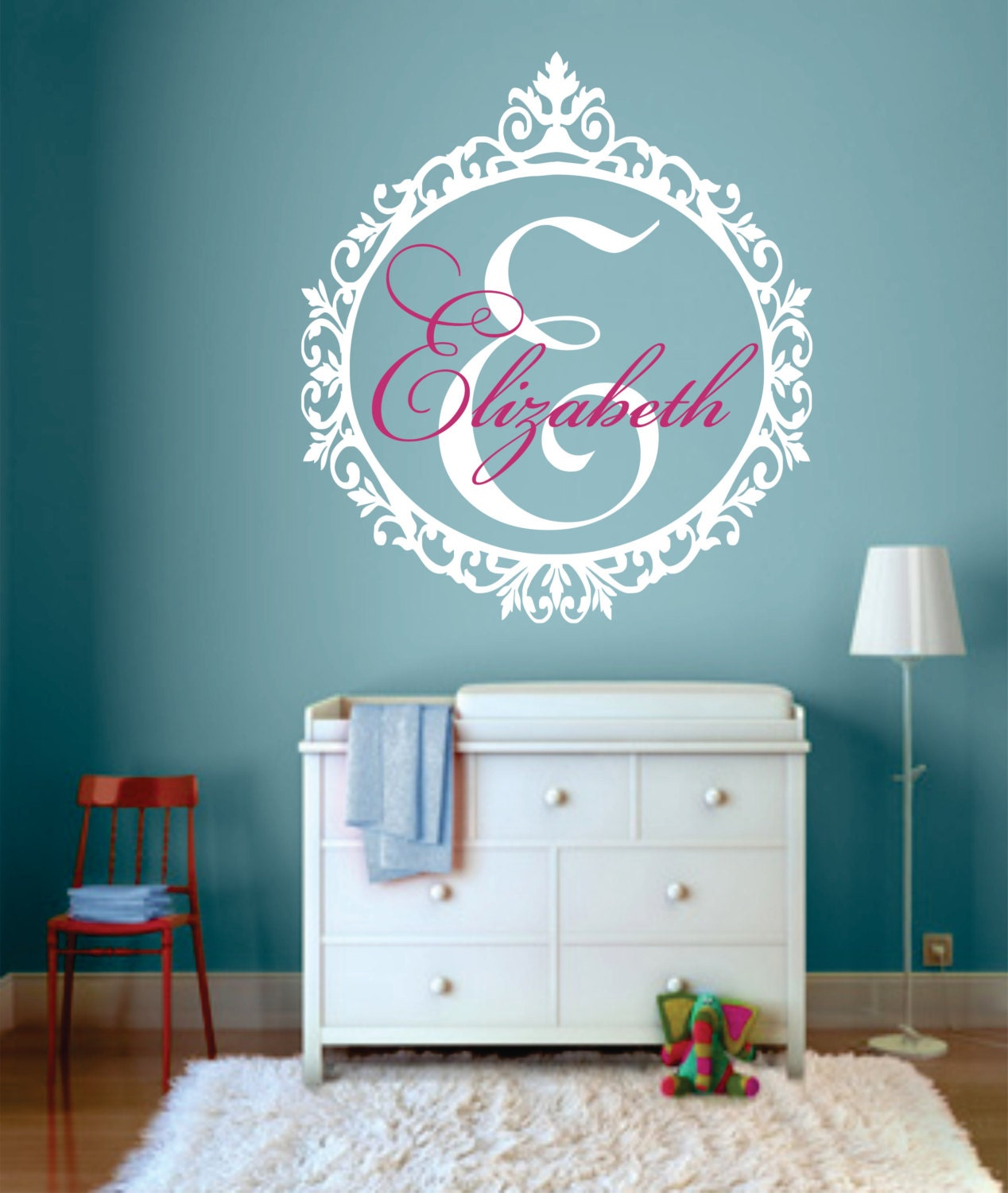 personalized name wall decal monogram wall decal shabby chic. Black Bedroom Furniture Sets. Home Design Ideas