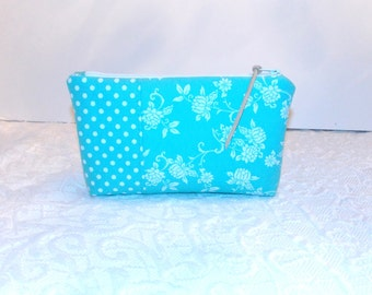 Zipper Pouch - Cosmetic Bag - Purse - Teal - White