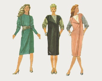 Simplicity 80s Sewing Pattern New Wave Style Asymmetrical Front Dress Loose Fit Straight Dress Wides Sleeves Bust 32