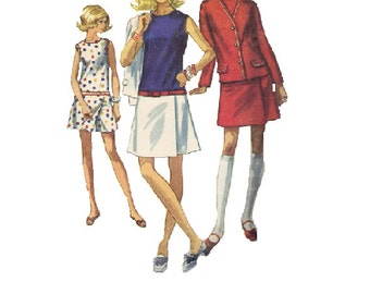 Retro Mod Simplicity 60s Sewing Pattern Summer Outfit Mini Skort Skirt Culottes Jacket Dress Bust 34