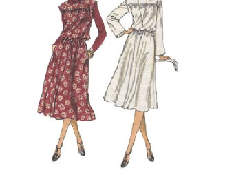 70s Vintage Vogue Sewing Pattern Loose Fit Pullover Blouson Dress Long Sleeves Full Flared Skirt Elastic Waist Boho Style Bust 32