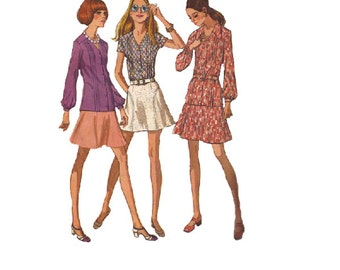 McCall's Sewing Pattern 70s Mini Skirt Long Short Sleeve Blouse Button Front Collarless Spring Summer Fashion Bust 36