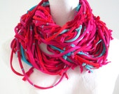 Vivacious Hot Pink Red Infinity Scarf Turquoise Accents Upcycled Circle Scarf Chunky Fall Fashion Cowl Scarf Bright Colors Knotty Bits - LovelySquid