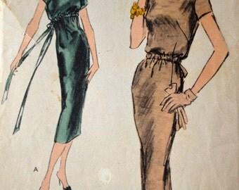 1950's Vogue Slim Dress with tie waist pattern - Bust 34 - no. 8981