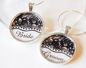 Bride Groom Charms, Wine Charms, black white, Wedding Wine Charms, Wedding Shower, Bridal Shower, table setting, silver plate (1996)