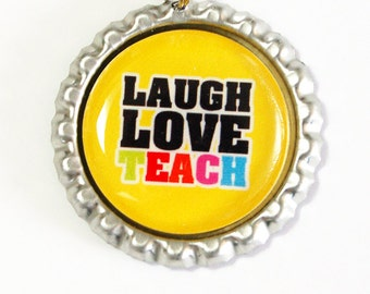 Laugh Love Teach, Teacher Bookmark, bookmark, book mark, Shepherd Hook, gift for teacher, Yellow (2474)