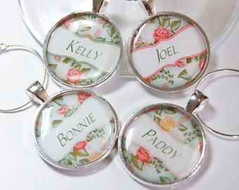 Personalized wine charms, custom, Wine Charms, Wine Glass Charms, Flowers, silver plate, Roses, Green, personalized charms (2596)