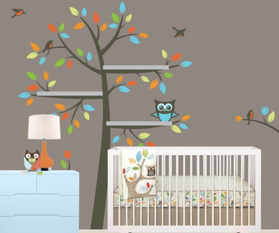 Tree bookshelf wall decals with owl nursery decor shelves tree
